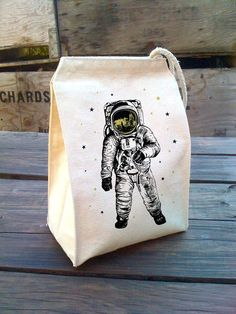 Eco Astronaut Bag with gold stars design Man on the by alittlelark