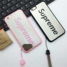 シュプリーム アイフォン7カバー 鏡面  supreme iphone7プラス/6s オシャレ 薄型 ストラップ付き 持ちやすい。