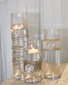 Set Of 10 Gold Rhinestone Wrap Glass Cylinder Vases