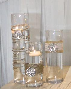 Set Of 10 Gold Rhinestone Wrap Glass Cylinder Vases Wedding Or Special Event Vases Wedding