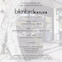 We're getting excited for next weekend! Come down to @bikinibirdkailua on Saturday March 18th! Trunk shows during the day and party time 5-8!  We'll be posting on giveaways all week long - stay tuned!