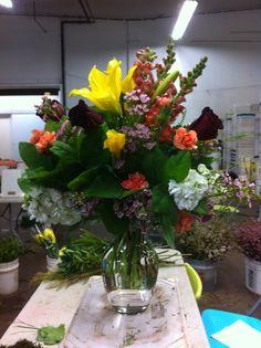 Mixed vase in school