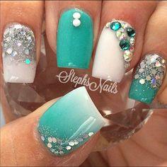 Top 30 Trending Nail Art Designs And Ideas - Nail Polish Addicted Teal Nail Designs, Acrylic Nail Designs, Acrylic Nails, Nails Design, Art Nails, Teal Nails, Sparkle Nails, Manicure Gel, Nail Nail