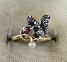 GEORGIAN DIAMOND, RUBY & PEARL SQUIRREL 18CT GOLD RING