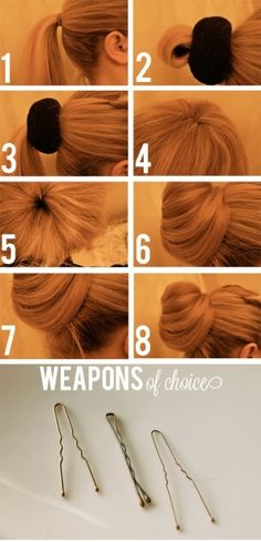 How to use the sock bun method...this actually looks better than most I've seen that require you to roll your sock down the pony tail=mess f...