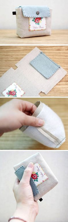 Sew Fabric a Business Card Wallet. DIY in Pictures. http://www.handmadiya.com/2015/10/card-wallet-tutorial.html