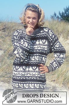 DROPS Sweater with bird and leaf repeats in Karisma Superwash . Free pattern by DROPS Design. Intarsia Patterns, Fair Isle Knitting Patterns, Fair Isle Pattern, Sweater Knitting Patterns, Free Knitting, Crochet Patterns, Fair Isle Pullover, Drops Design, Norwegian Knitting