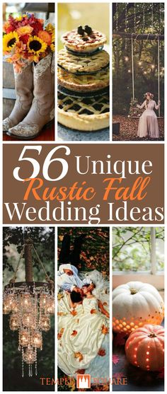 We uncovered the best 56 unique rustic fall wedding ideas, from wedding cake pies to elegant carved pumpkin decorations, to mason jar chandeliers and cowboy boot vases and more! Click through to the blog to find what's perfect for your fall wedding! | Fall Wedding Ideas | Rustic Wedding Ideas | Decorations | Wedding Food | Fall Wedding Photos | Swings | Rustic Tree Wedding Cake | Cowbell | Horseshoe Decorations | Barrel Decorations | Apple Decorations | Apple Candles | Fall Wedding Favors…