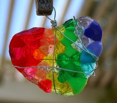 Melted plastic bead suncatchers!