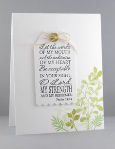Hand stamped card by Lynn Mangan using the Psalm 19:14 plain jane from Verve. #vervestamps