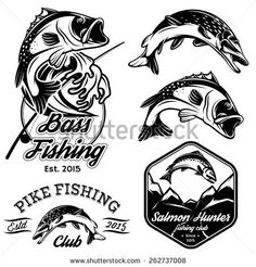 set of vintage patterns with emblems for fishing with pike, salmon, bass