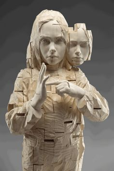 Wooden Sculpture by Gehard Demetz