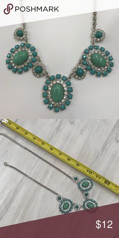 Rhinestone and faux turquoise statement necklace Elegant rhinestone and faux turquoise statement necklace with silver tone chain. Jewelry Necklaces