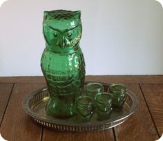 Vintage Owl Decanter with 4 Shot Glasses by NatureAndNostalgia, $36.00