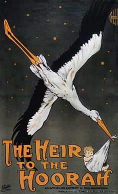 Image detail for -Vintage poster of stork carrying newborn baby