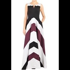 """New Eshakti Chevron Maxi Dress w/Sleeves S 6 New Eshakti black, white & plum chevron dress w/ elbow length sleeves. Size S 6  Measured flat: Underarm to underarm: 34"""" Empire waist: 30"""" Length: 59"""" Sleeves elbow length: 12"""" Eshakti chart for bust size 6: 35"""" Side hidden zipper. Princess seamed bodice, wide banded empire waist, side seam pockets. Lined in cotton voile. Cotton, woven poplin, pre-shrunk  Machine wash Price firm unless bundled 10 % discount automatically applied @ checkout…"""