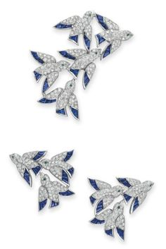 "A Set of Diamond, Sapphire and Emerald ""En Vole"" Jewelry, by Cartier"