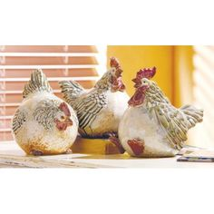 Festive Plump Ceramic Glazed Rooster Figures