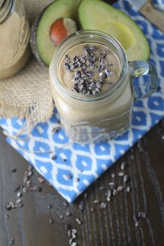 Chocolate Avocado Protein Smoothie...10oz unsweetened vanilla almond milk, 1/2 scoop of chocolate protein (or 1 Clean chocolate protein packet), 1 spoonful of raw cacao powder, 1 frozen banana (if cleansing use peaches, or extra ice), 1/2 avocado-flesh scooped out, 1 scoop of almond butter, Stevia to to taste (optional), handful of ice