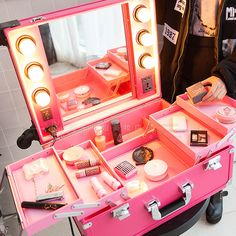 High Quality Large Professional Multi-Layer Light Box Mirror Universal Fashion Style Portable Vanity Makeup Case Trolley Pink or Black