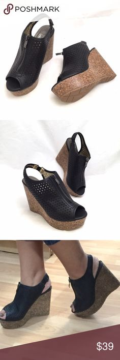 Maker's Black Wedges Beautiful black wedges by Maker's. Features a cut-out design faux leather top with zipper closure. Ankle strap has a small elastic for a perfect fit. Heel measures 4.5' and platform 1.5'. Medium width and true to size. Maker's Shoes Wedges