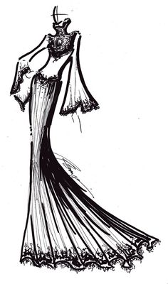 Dress Sketch - beaded lace gown, fashion design drawing; fashion illustration // Dax Bayani