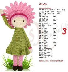 Crochet Stitches Free, Crochet Amigurumi Free Patterns, Crochet Doll Pattern, Cat Pattern, Crochet Dollies, Cute Crochet, Crochet Flowers, Crochet Baby, Dou Dou