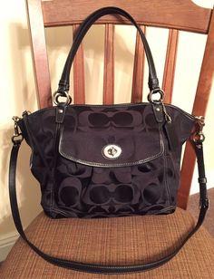 b64a9888e875 COACH Leah Signature Convertable Tote Handbag Black  13139