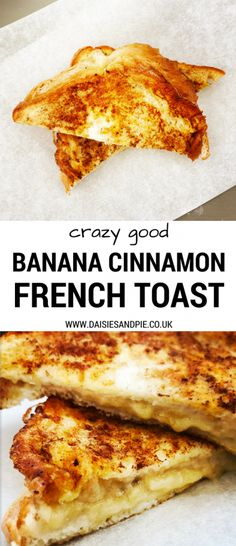 Crazy good banana cinnamon french toast recipe that makes a delicious breakfast or serve as dessert with a scoop of vanilla ice-cream, easy breakfast recipes