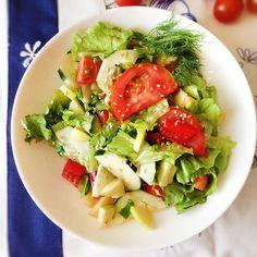 Salada de Tomate, Pepino, Pimentos e Maçã | Tomato Salad, Cucumber, Peppers and Apple