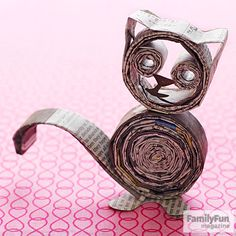Simple Craft Projects for Kids Curled-up Kitty: We coiled strips of newspaper to make a cat, but you can use the technique to form other animals and letters. Go wild! Want great tips about arts and crafts? Go to this fantastic info! Craft Projects For Kids, Easy Crafts For Kids, Art For Kids, Easy Projects, Simple Crafts, Craft Ideas, Fun Diy Crafts, Cat Crafts, Arts And Crafts