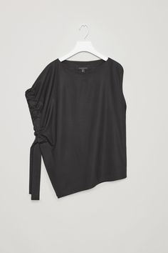 Top with side drape - Black - Tops - COS US