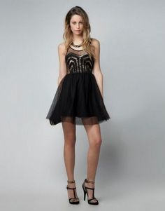 Discover the lastest trends in fashion in Bershka. Buy online shirts, dresses, jeans, shoes and much more. Tulle Skirt Dress, Dress Skirt, Gala Dresses, Formal Dresses, Bershka Collection, Lil Black Dress, Style Noir, Holiday Party Outfit, Moda Online