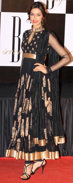 $139.29 Deepika Padukone in Black Anarkali Bollywood Salwar Suit 25884