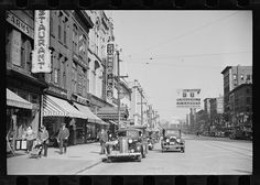 Street corner scene, Manchester, New Hampshire. 1936 Aug. Library of Congress.