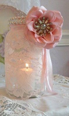 lace over mason jar