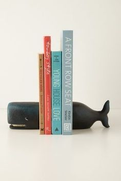 whales to hold my new books - mostly colored turquoise & laguna