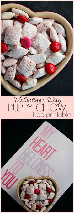 Valentine's Day Puppy Chow - sweet treat with white chocolate and a hint of strawberries! Also, get out free printable!