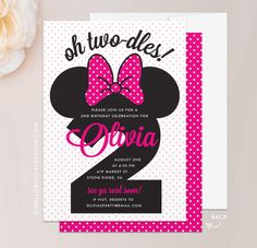 Two-dles Minnie Mouse Birthday Invitation in Hot Pink
