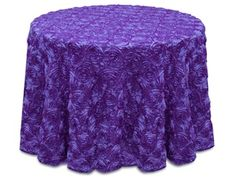 """Purple Satin Rosette Tablecloth. Sizes: Round 120"""", Round 132"""", Rectangle 90"""" x 132"""", Rectangle 90"""" x 156"""". Please contact me through Etsy for variety of colors. https://www.etsy.com/shop/Zemboor"""