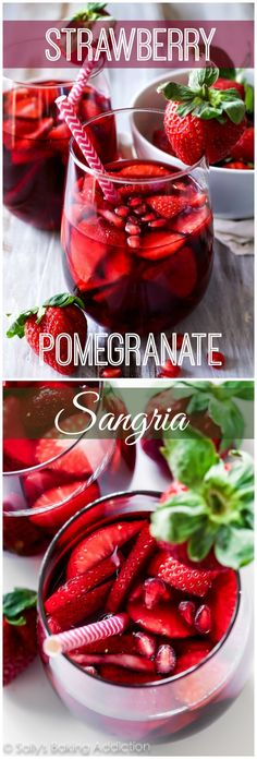 I love pomegranate! 5 Ingredient Strawberry Pomegranate Sangria - A cheery and bright red wine sangria filled with strawberry and pomegranate. Wine Drinks, Cocktail Drinks, Cocktail Recipes, Red Sangria Recipes, Margarita Recipes, Drink Recipes, Beverages, Refreshing Drinks, Summer Drinks