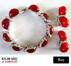 Vintage Kramer Red Hot Moon Glow Rhinestone Bracelet and Earrings