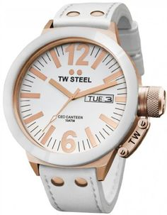 41db7ed9393 TW Steel Men s CE1036 CEO Canteen White Leather Dial Watch