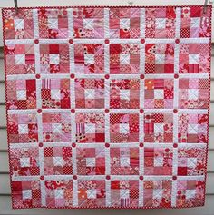Nine Patch Quilt - Strawberry Patches