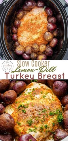 Slow Cooker Lemon-Dill Turkey Breast (Half Breast)   http://thecookiewriter.com   @thecookiewriter   An easy and healthy Thanksgiving or summer roast that is boneless, made in the slow cooker / crock pot and is finished in little time!