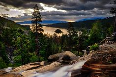 It was a very dark and stormy dawn when I arrived at the Eagle Falls area of Lake Tahoe, California. Although it was summer, it was also surprisingly cold. It made me wonder how bitter the winters must be there.