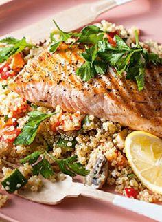 Low FODMAP Recipe and Gluten Free Recipe - Maple Spice Salmon with Quinoa http://www.ibssano.com/low_fodmap_recipe_maple_spice_salmon_quinoa.html