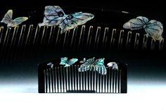 Antique Raden Hair Comb - Flying Butterflies Design - Mother-Of-Pearl Kushi Kanzashi - Kawaii Geisha by JapaVintage on Etsy