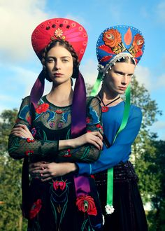: LUNDLUND : : : ELISABETH TOLL Those Hungarian Matyo style flowers on the right headdress and the dress!