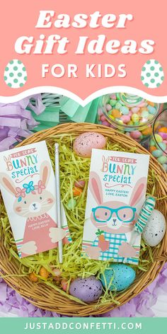 Get ready for Easter with these cute Easter gift ideas for kids. Such fun Easter treats to give family or friends. Also, they would be perfect Easter basket fillers for kids. These DIY printable cards come in two different designs, a boy bunny and a girl bunny. Just attach a lollipop, glow stick, or pencil to the bunny's hand. The printables are available in my Just Add Confetti Etsy shop. Also, be sure to head to justaddconfetti.com for even more Easter decorations, gift ideas and crafts.